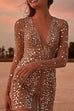 Irisdress Deep V Sequin Wrap Dress