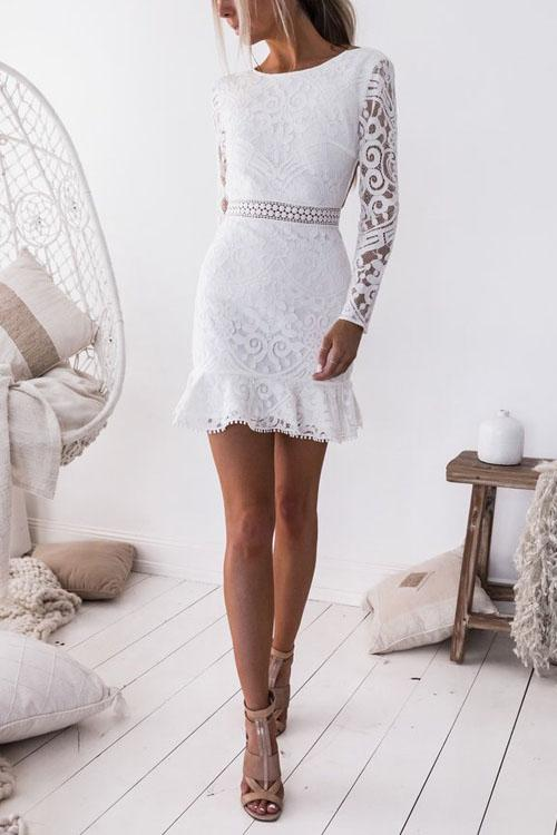 Irisdress Backless Slim Cut Lace Wrap Dress
