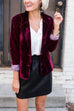 Irisdress Slim Long Sleeve Velvet Blazer Jacket