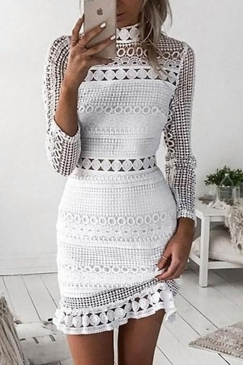 Irisdress Water-Soluble Crochet Hollow Lace High Neck Dress