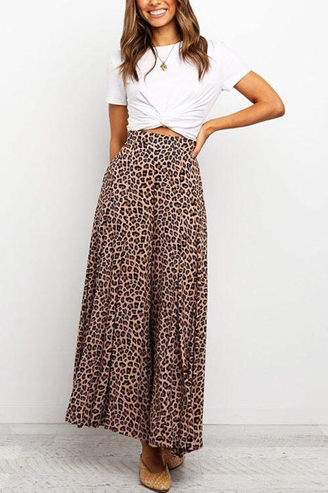 Irisdress Casual Style Leopard Wide Leg Pants