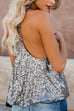 Irisdress Sequin Deep V Casual Suspender Vest Top