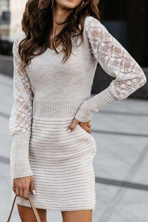 Irisdress Hana Chic Lace Sleeves Sweater Dress