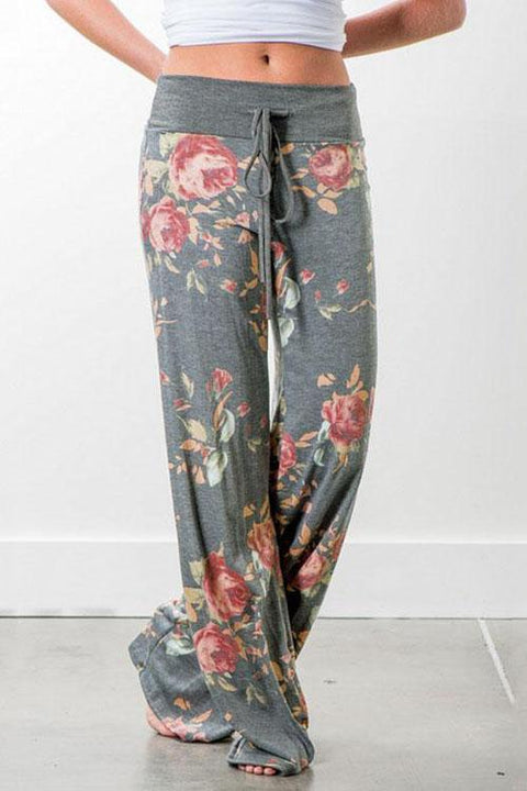Irisdress Flower Comfy Casual Wide Leg Home Pants