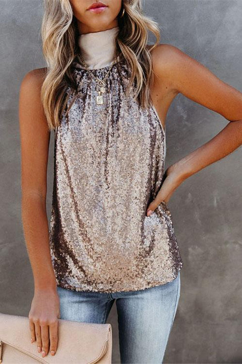 Irisdress Xmas Sequin High Collar Casual Vest Top