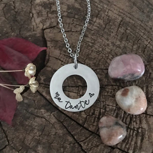 Handstamped Ring Pendant Necklace