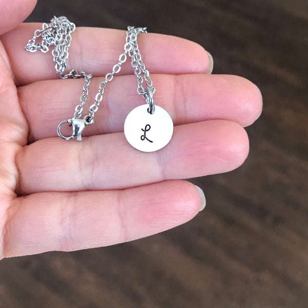 Tiny initial necklace