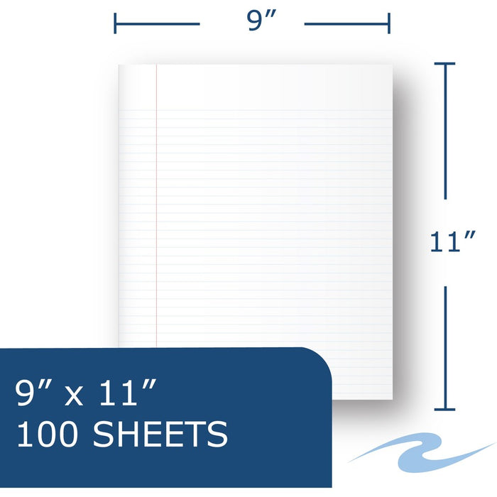 "Lefty Wirebound Notebook - 1 Subject - 9"" x 11"" - 100 Sheets"