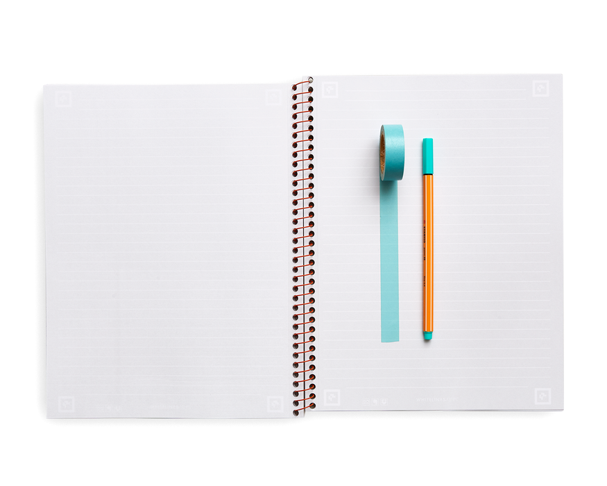 "Whitelines Premium Lined Spiral Notebook - 11"" x 8.5"" - 70 Sheets"