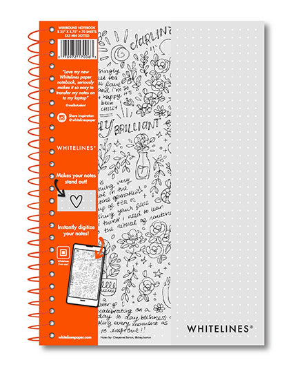 "Whitelines Premium Wirebound Ruled Dot Journal - 8.25"" x 5.75"" - 70 Sheets"