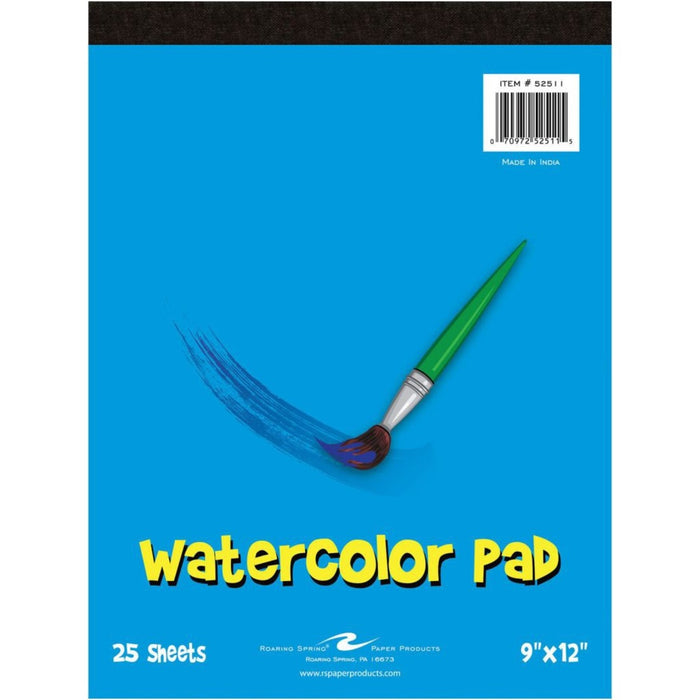 "Kid's Art Watercolor Paint Pad - 100# Watercolor Paper - 9"" x 12"" - 25 Sheets"