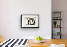 Load image into Gallery viewer, framed hand drawn image print of 5 penguins hung on wall in kitchen