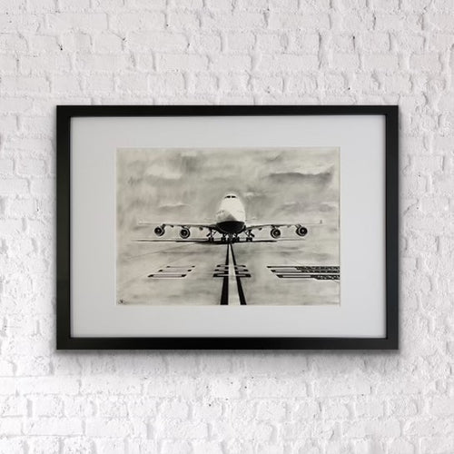 "The 747 ""Queen of the Skies"" Original Drawing Framed hanging on the wall"