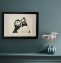 Load image into Gallery viewer, framed hand drawn image of 2 puffins