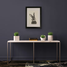 Load image into Gallery viewer, hand drawn image of bunny rabbit framed and hung on wall above table with books and plant pot