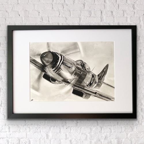 Flying Spitfire Original Drawing hanging on the wall