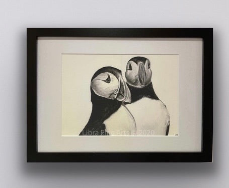 framed hand drawn image of 2 puffins hung on wall