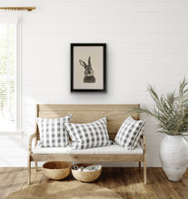 Load image into Gallery viewer, hand drawn bunny rabbit drawing framed above seat and plant pot