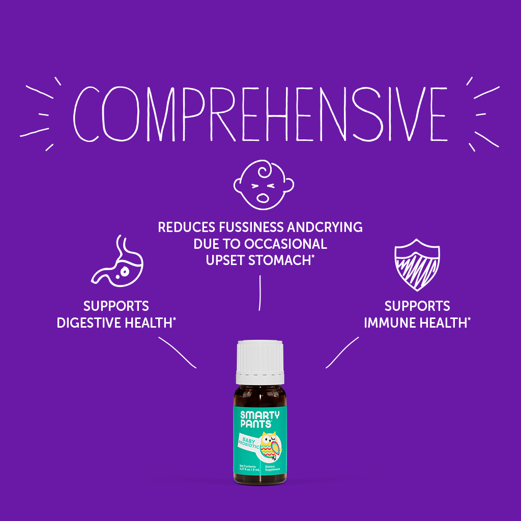 Supports digestive health, reduces fussiness & crying and supports immune health.
