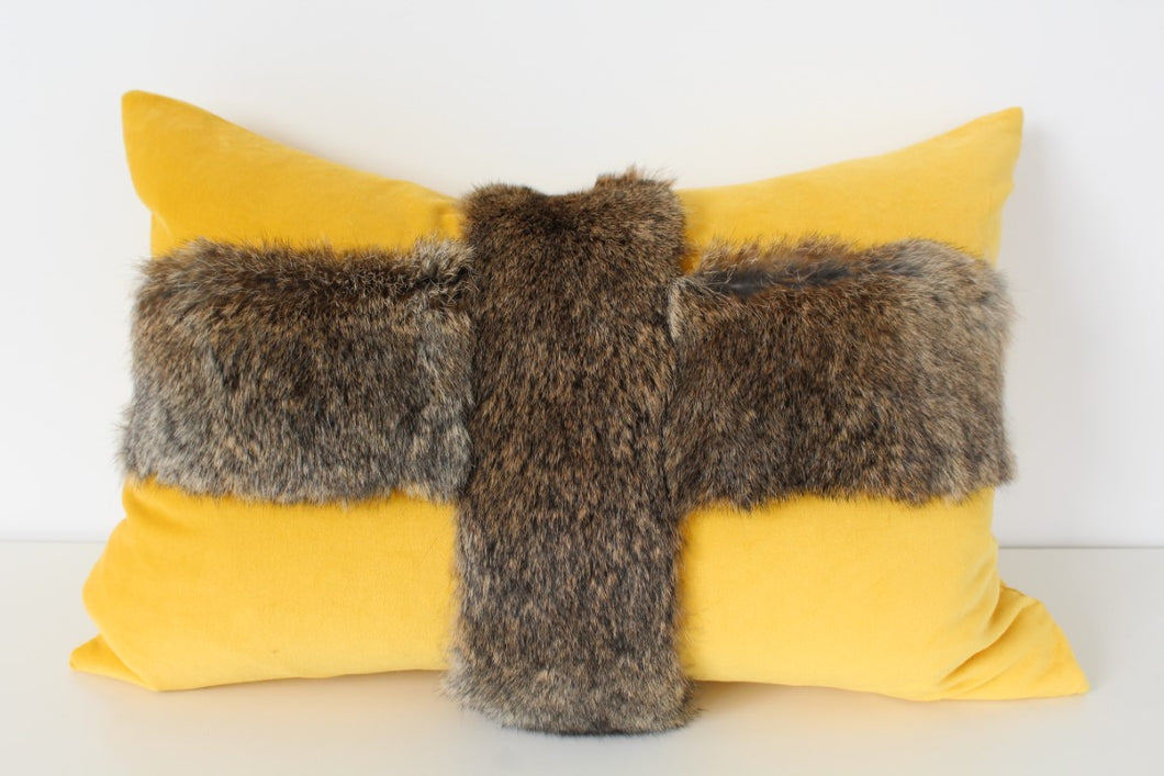 Rabbit fur cushion kowhai
