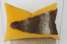 Load image into Gallery viewer, Rabbit fur cushion kowhai