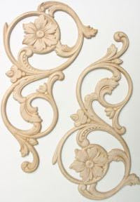 "Embossed Wood Applique<br>size each 6"" x 11-1/2"""