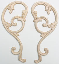 "Embossed Wood Applique<br> size each 4"" x 9-3/8"""