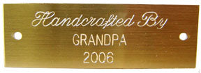 "Engraved Brass Nameplate<br> Size  1"" X 3"""