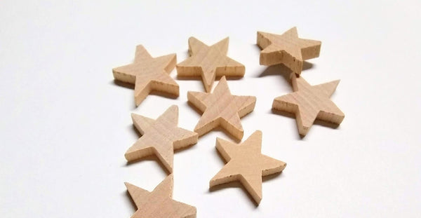 "50 pcs Wood Star 3/4"" dia. sku#STAR34"