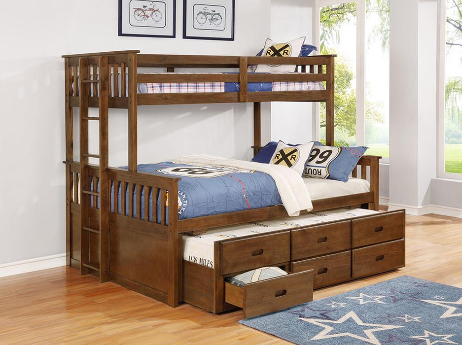 Atkin Weathered Walnut Twin XL-over-Queen Bunk Bed image