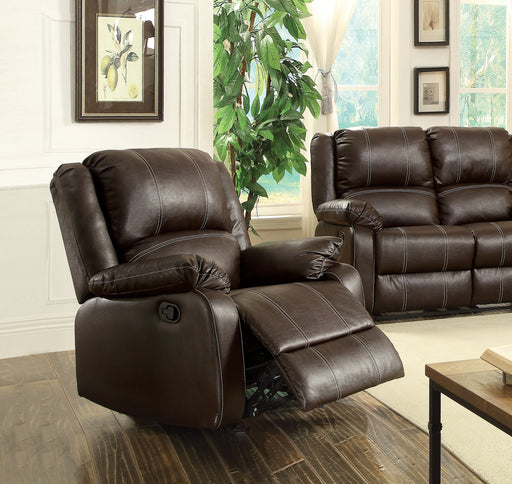 Zuriel Brown PU Rocker Recliner (Motion) image