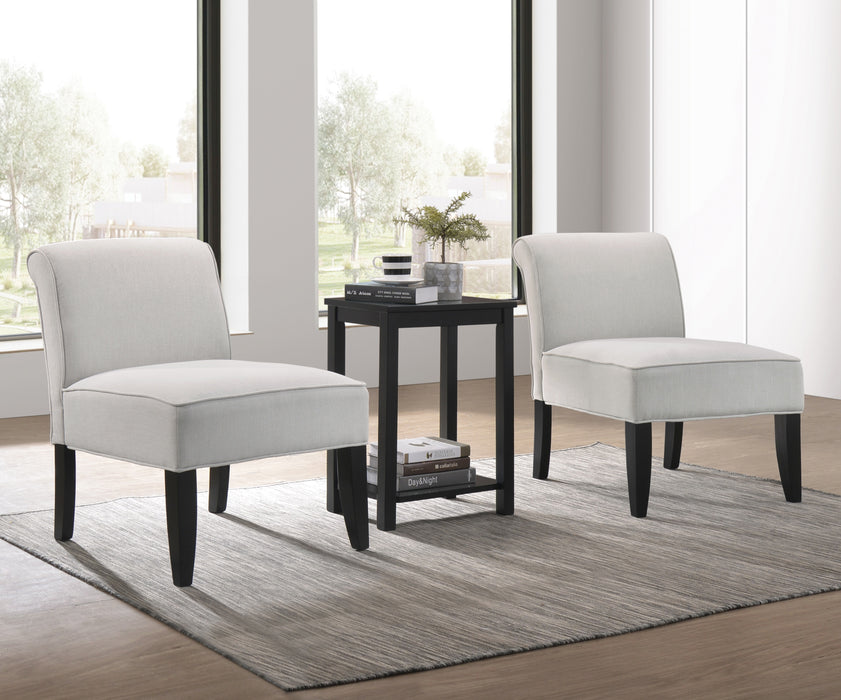 Genesis II Cloud Gray Linen & Black 3Pc Pack Chair & Table image