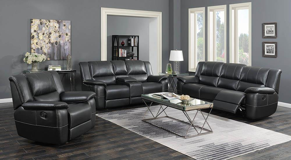 Lee Transitional Black Leather Reclining Three-Piece Living Room Set image