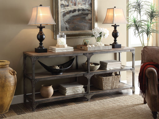 Gorden Weathered Oak & Antique Silver Console Table image