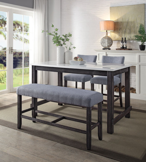 Yelena Marble & Weathered Espresso Counter Height Table image