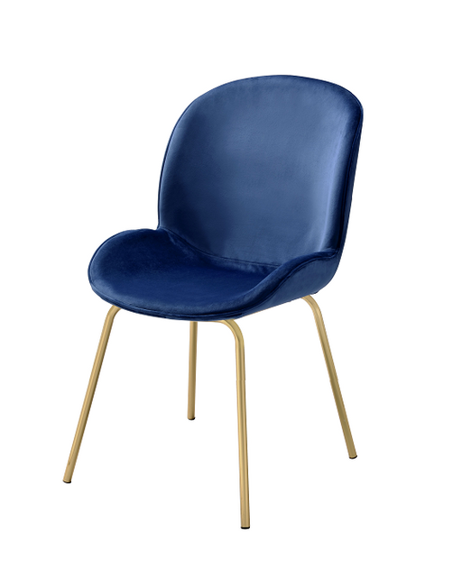 Chuchip Blue Velvet & Gold Side Chair image