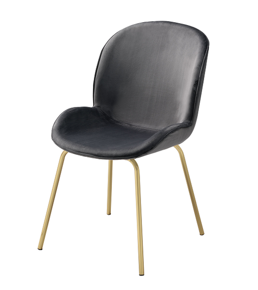 Chuchip Gray Velvet & Gold Side Chair image