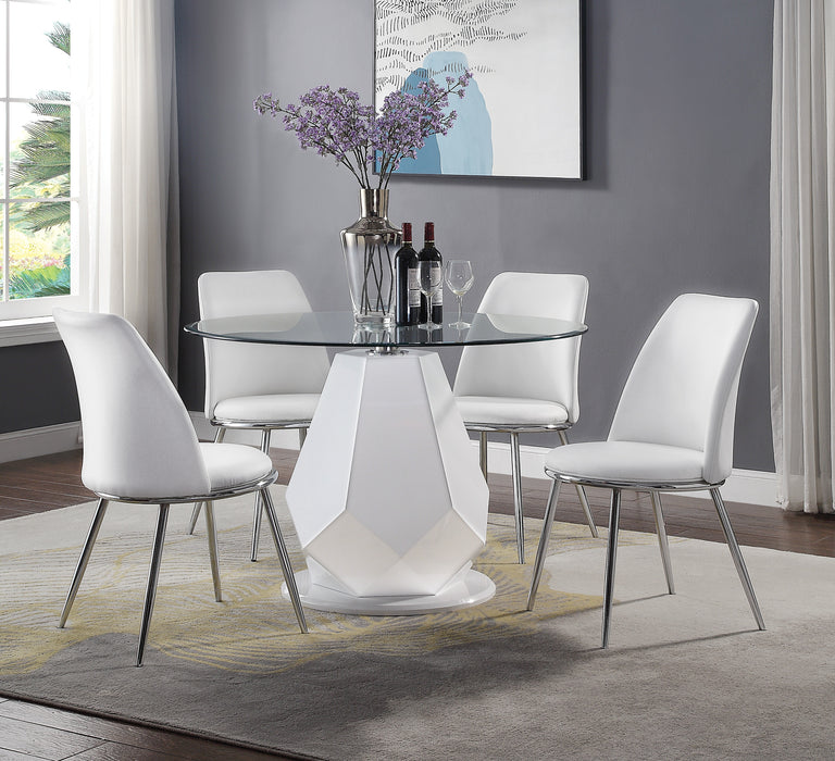 Chara White High Gloss & Clear Glass Top Dining Table image