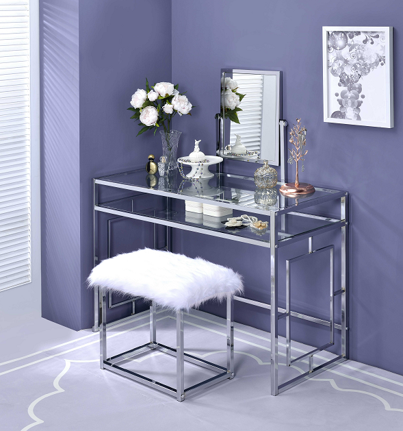 Carenze II White Faux Fur & Chrome Vanity Set image