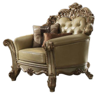 Acme Vendome Chair w/ 2 Pillows in Gold Patina 53002 image