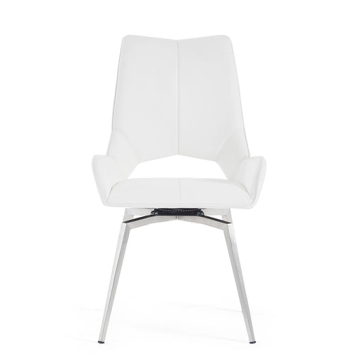 White Set Of 2 Swivel Dining Chairs image