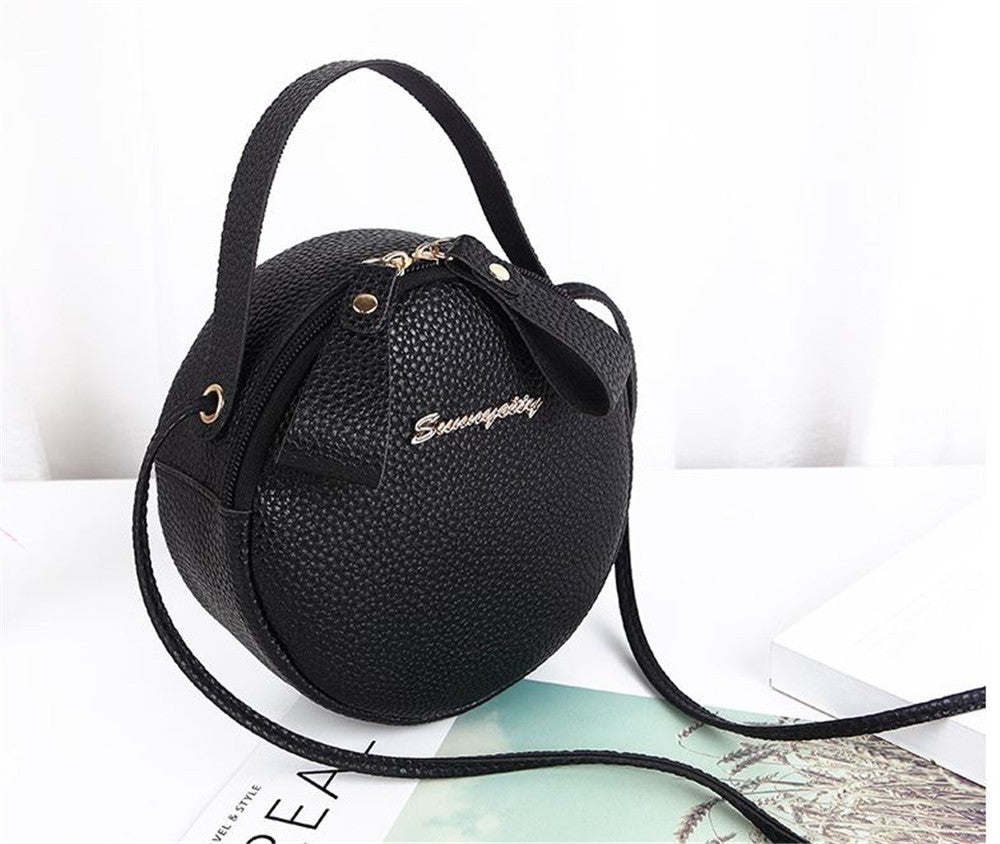 Lychee pattern small personality shoulder messenger round bag