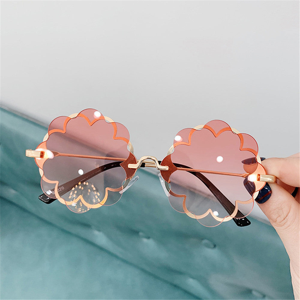 Children's Flower Sunglasses Frameless Trimming  Party Glasses Fashion Creative Sunglasses