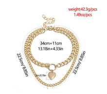 Load image into Gallery viewer, Jewelry Heart Shaped Creative Openable Pendant Necklace Women Exaggerated Double Simple Chain Short Necklace