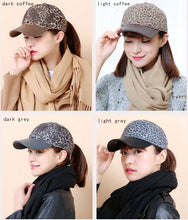 Load image into Gallery viewer, Hat autumn and winter ladies leopard print warm woolen baseball cap fashion cap