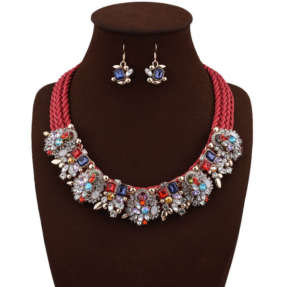 Luxury alloy inlaid gemstone flower lady necklace earring set