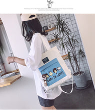 Load image into Gallery viewer, Ins Canvas bag one-shoulder large-capacity literary messenger bag
