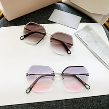 Load image into Gallery viewer, Sunglasses women rimless crystal cut edge polygonal lens UV protection sunglasses