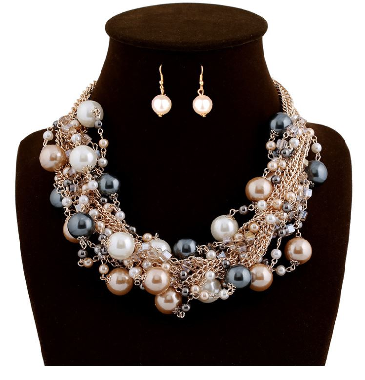 Fashion women's exaggerated mixed color pearl necklace short earrings necklace set