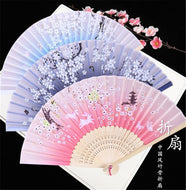 Antique folding fan handmade bamboo silk cloth Small gift souvenir